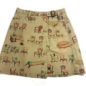 8 Anthropologie Postmark Retro Chairs Wrap Skirt